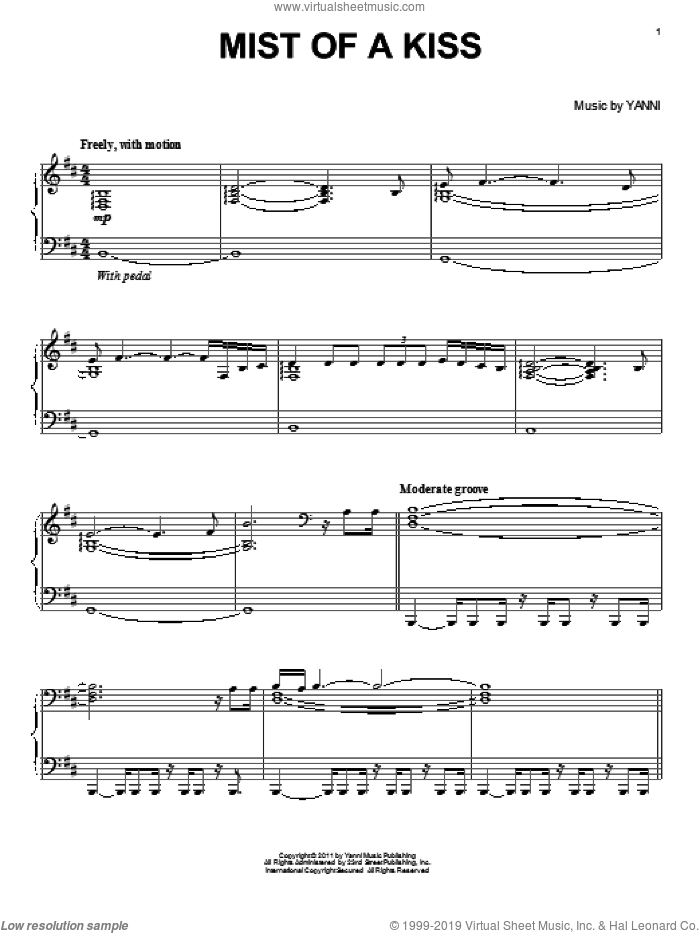 Mist Of A Kiss sheet music for piano solo by Yanni, intermediate skill level