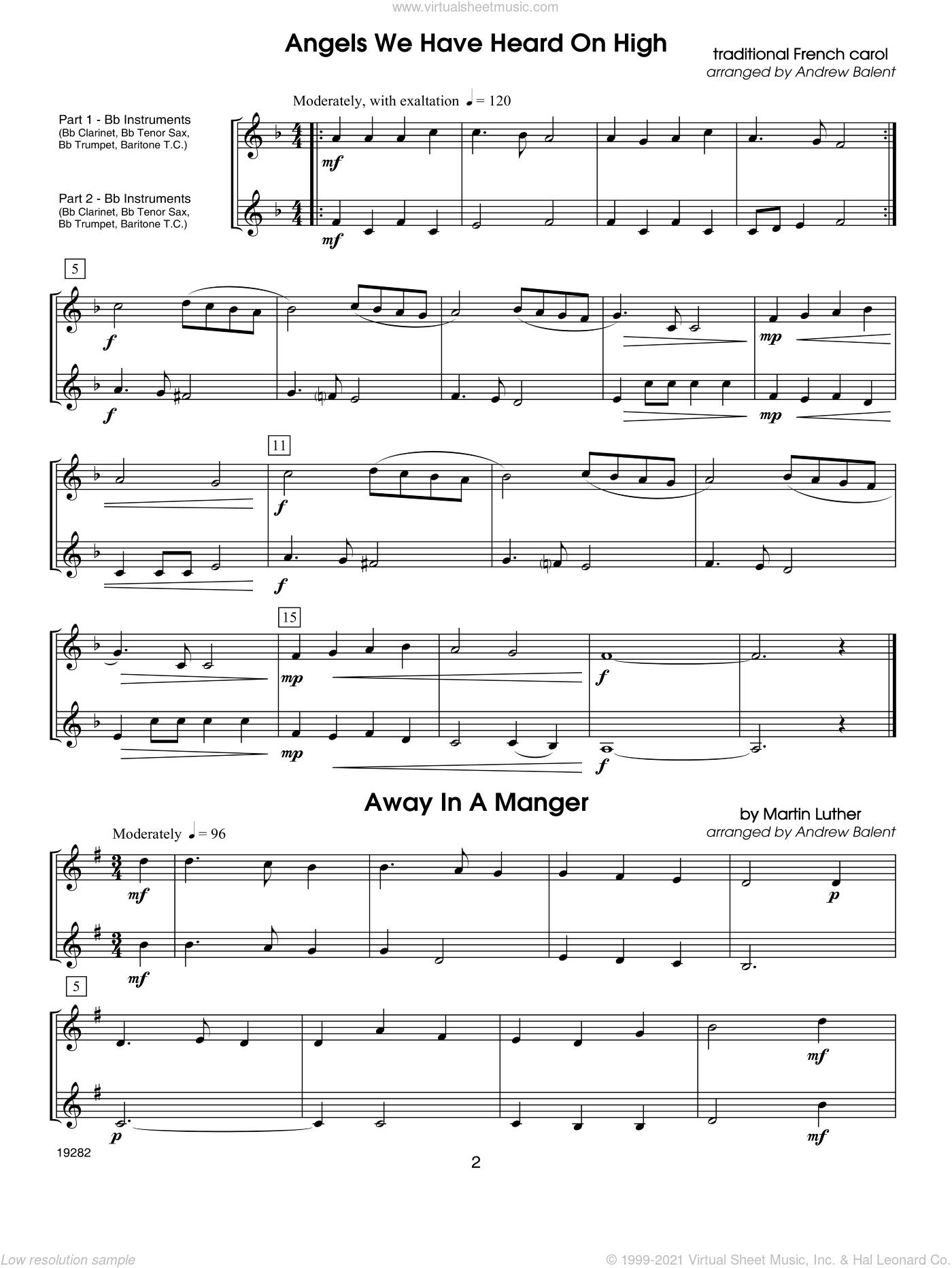 Christmas FlexDuets sheet music for two trumpets or clarinets by Balent. Score Image Preview.