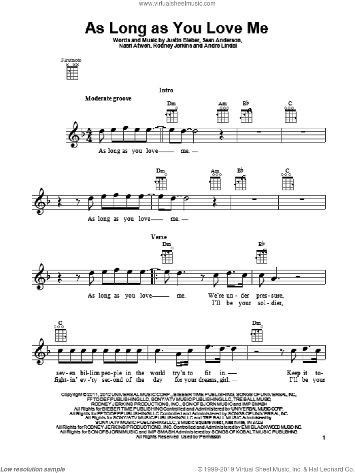 As Long As You Love Me sheet music for ukulele by Justin Bieber