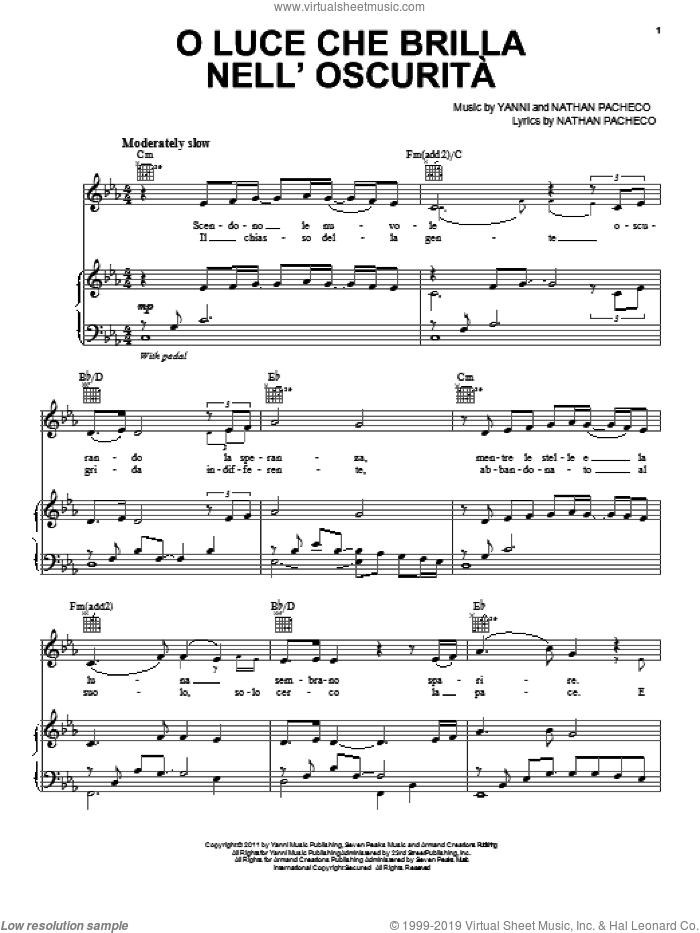 O Luce Che Brilla Nell'Oscurita sheet music for piano solo by Yanni