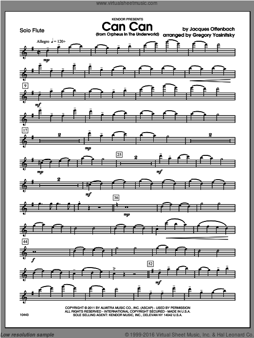 Can Can (from Orpheus In The Underworld) (COMPLETE) sheet music for flute and piano by Yasinitsky