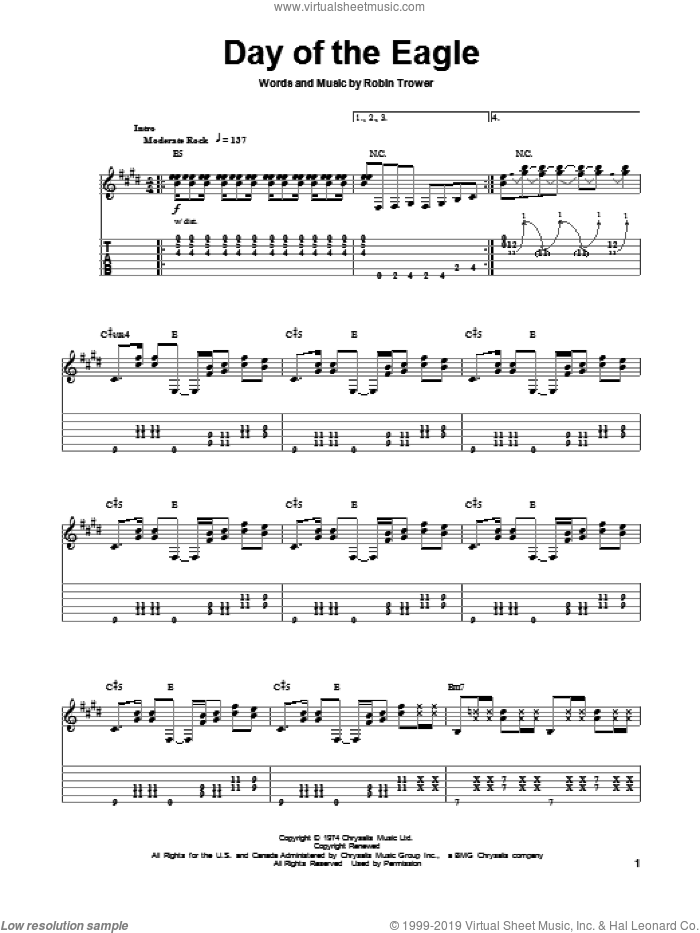Day Of The Eagle sheet music for guitar (tablature, play-along) by Robin Trower