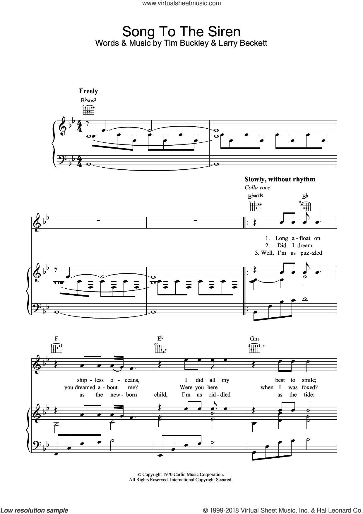 Song To The Siren sheet music for voice, piano or guitar by Tim Buckley and Larry Beckett, intermediate skill level