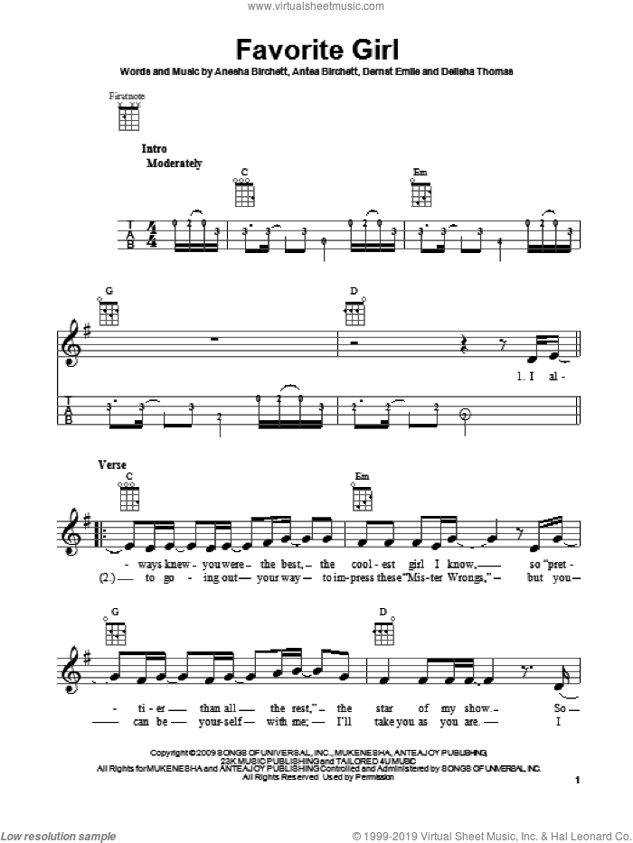 Favorite Girl sheet music for ukulele by Justin Bieber. Score Image Preview.
