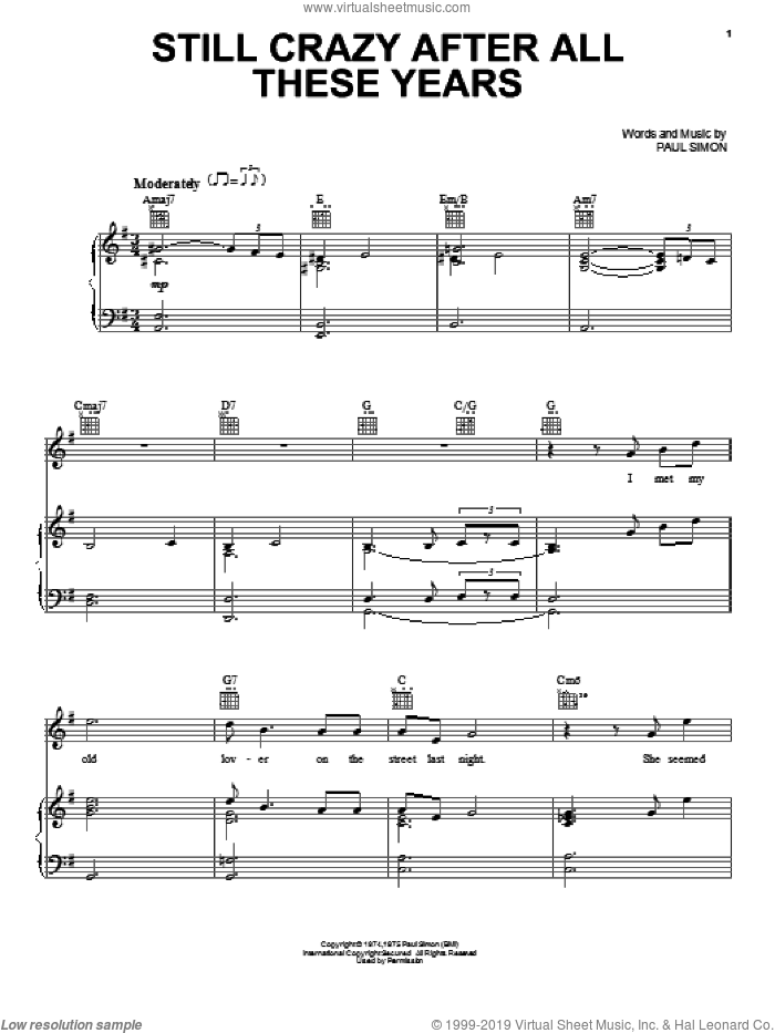 Still Crazy After All These Years sheet music for voice, piano or guitar by Paul Simon