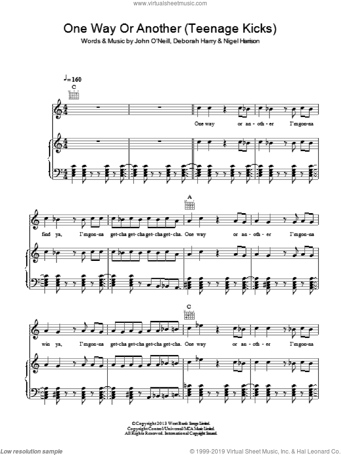 One Way Or Another (Teenage Kicks) sheet music for voice, piano or guitar by One Direction, intermediate. Score Image Preview.