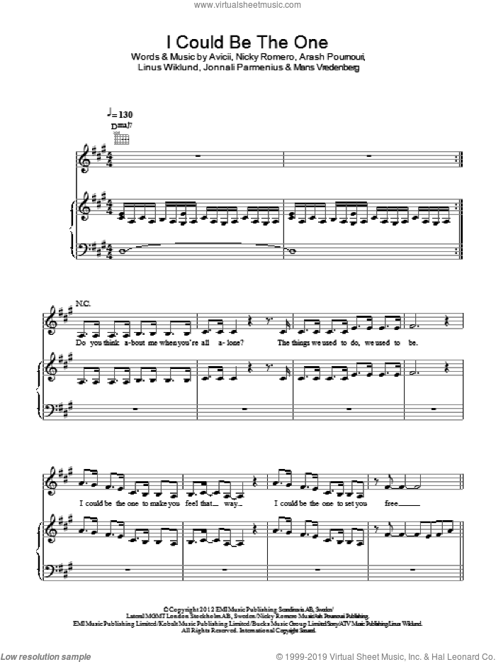 I Could Be The One sheet music for voice, piano or guitar by Nicky Romero and Avicii. Score Image Preview.