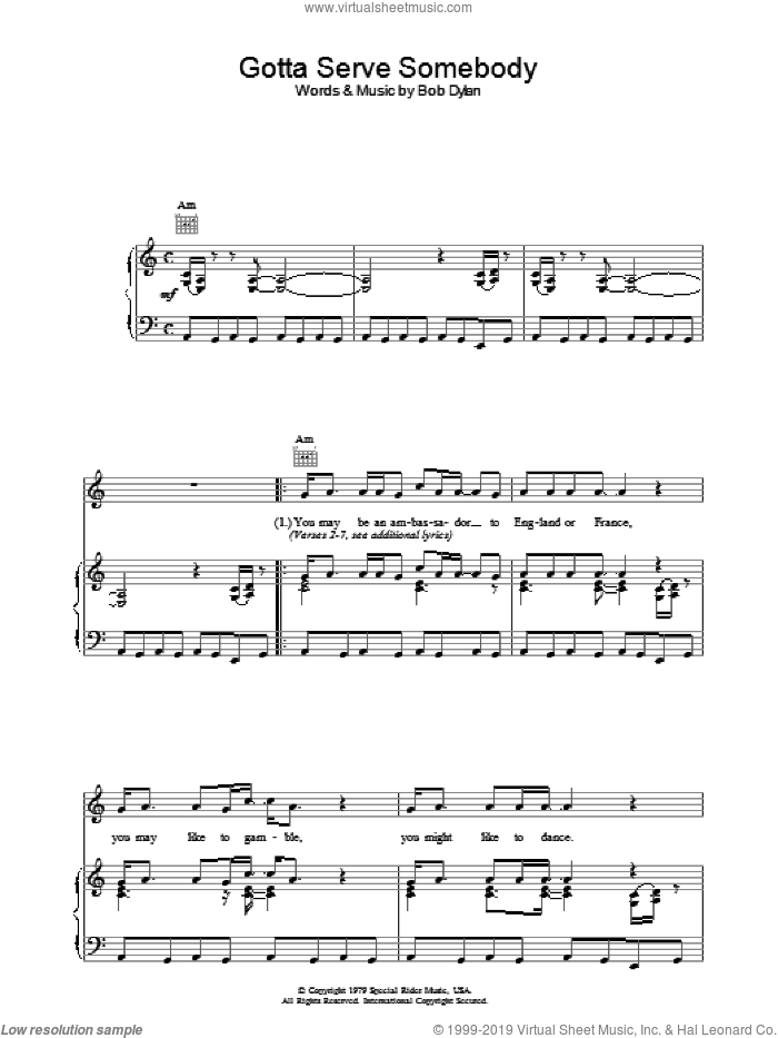 Gotta Serve Somebody sheet music for voice, piano or guitar by Bob Dylan. Score Image Preview.