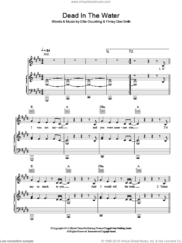Dead In The Water sheet music for voice, piano or guitar by Finlay Dow Smith and Ellie Goulding. Score Image Preview.