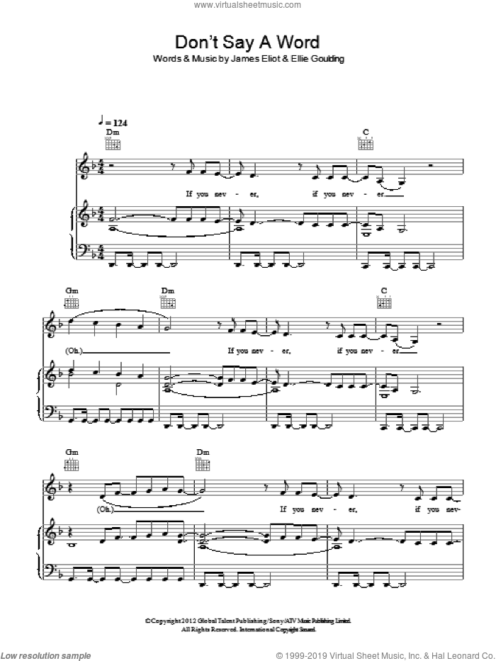 Don't Say A Word sheet music for voice, piano or guitar by Ellie Goulding. Score Image Preview.