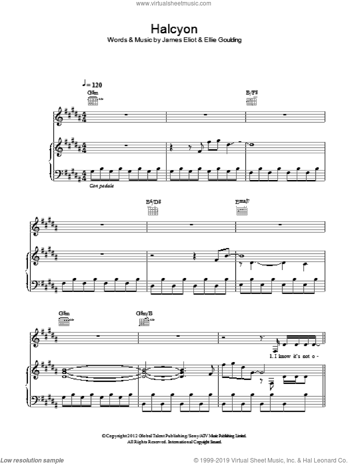 Halcyon sheet music for voice, piano or guitar by Ellie Goulding, intermediate voice, piano or guitar. Score Image Preview.