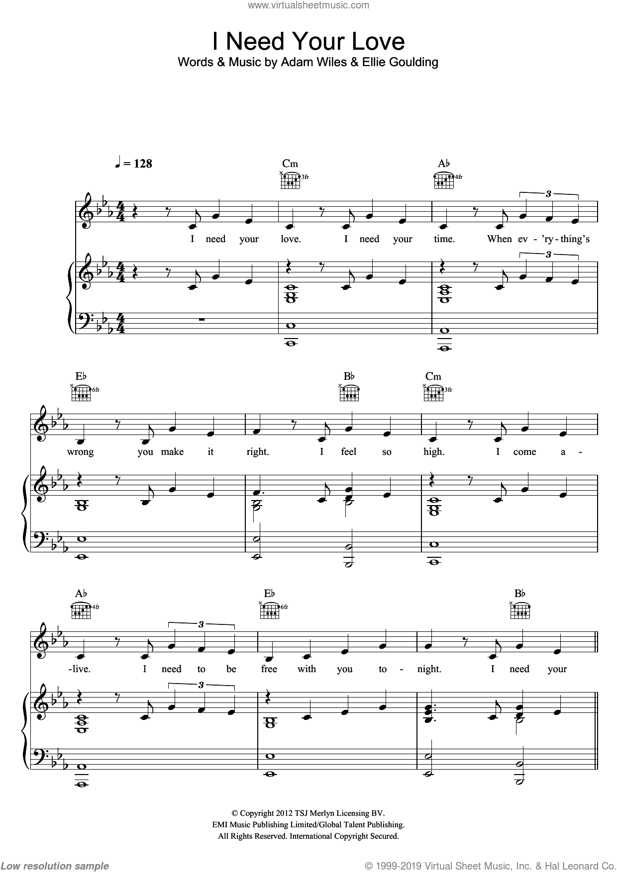 I Need Your Love sheet music for voice, piano or guitar by Ellie Goulding and Adam Wiles, intermediate. Score Image Preview.