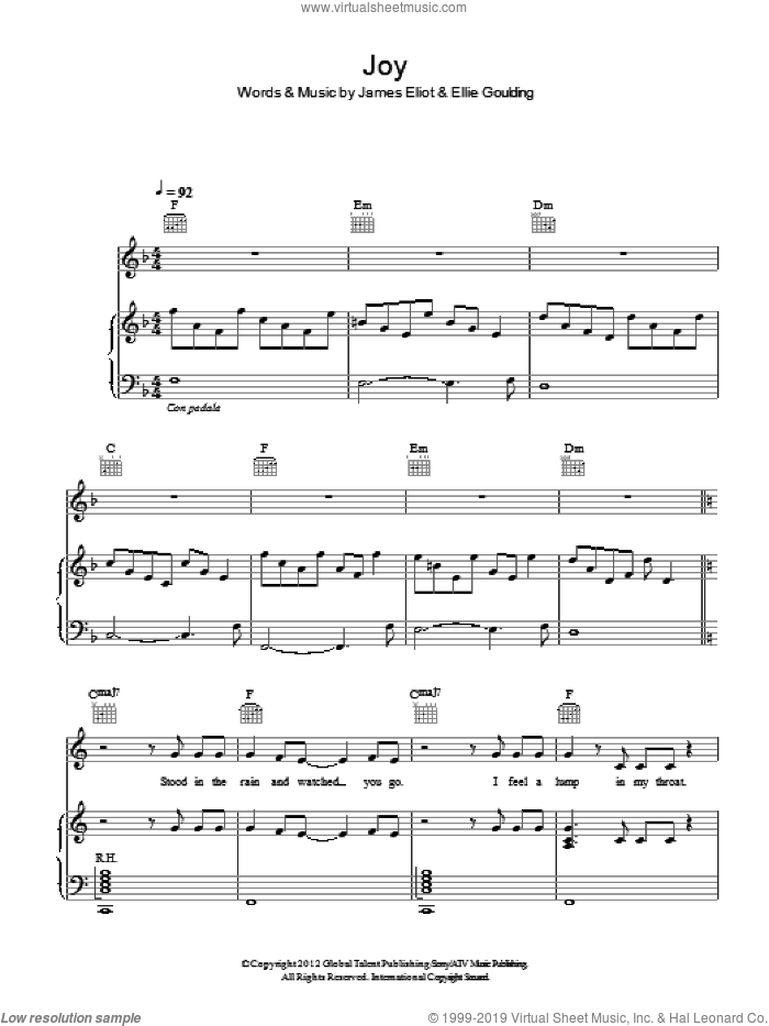 Joy sheet music for voice, piano or guitar by Ellie Goulding. Score Image Preview.