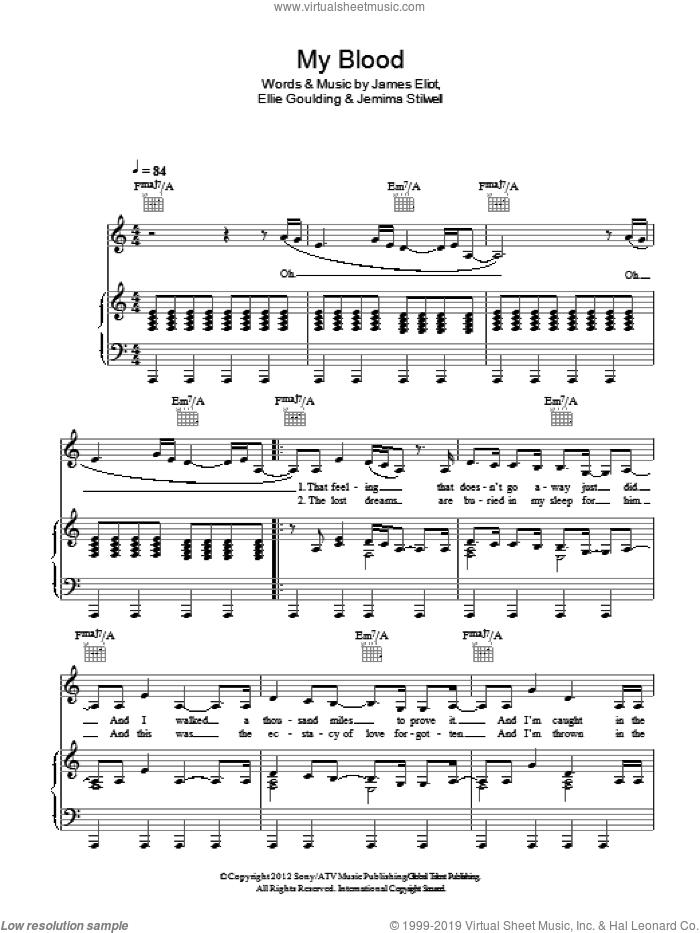 Goulding My Blood Sheet Music For Voice Piano Or Guitar Pdf