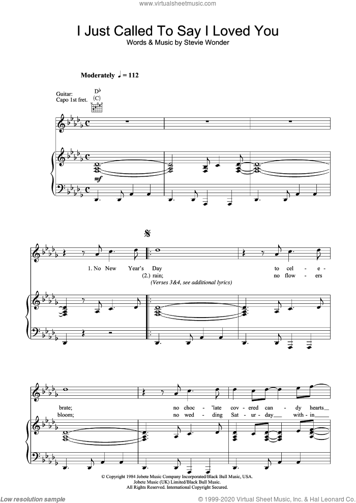 I Just Called To Say I Love You sheet music for voice, piano or guitar by Stevie Wonder. Score Image Preview.