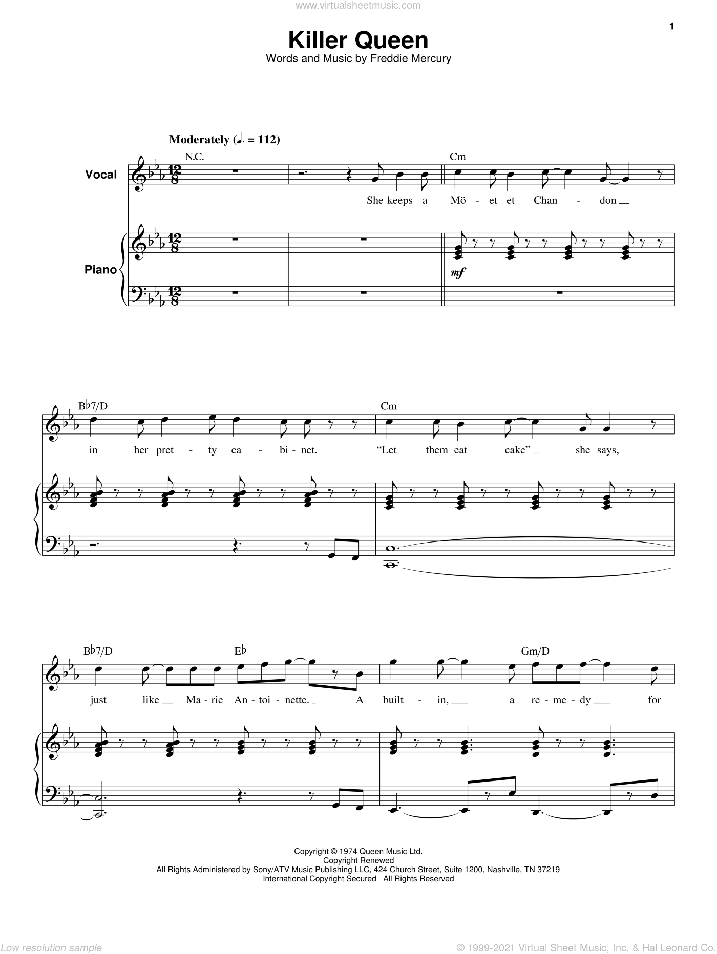 Killer Queen sheet music for voice and piano by Queen and Freddie Mercury, intermediate skill level