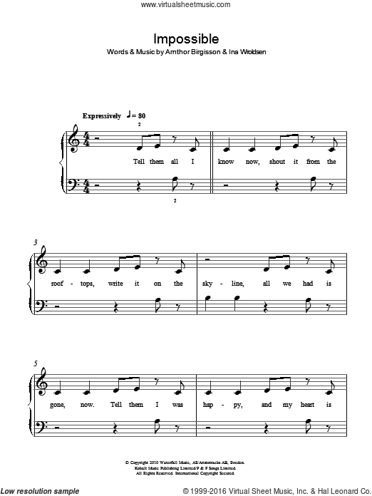 Impossible sheet music for piano solo by James Arthur and Arnthor Birgisson, easy piano. Score Image Preview.