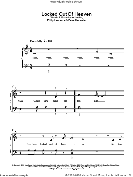 Locked Out Of Heaven sheet music for piano solo by Philip Lawrence, Bruno Mars, Ari Levine and Peter Hernandez. Score Image Preview.