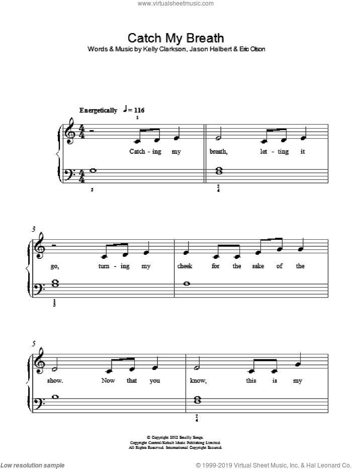Catch My Breath sheet music for piano solo by Jason Halbert, Eric Olson and Kelly Clarkson. Score Image Preview.