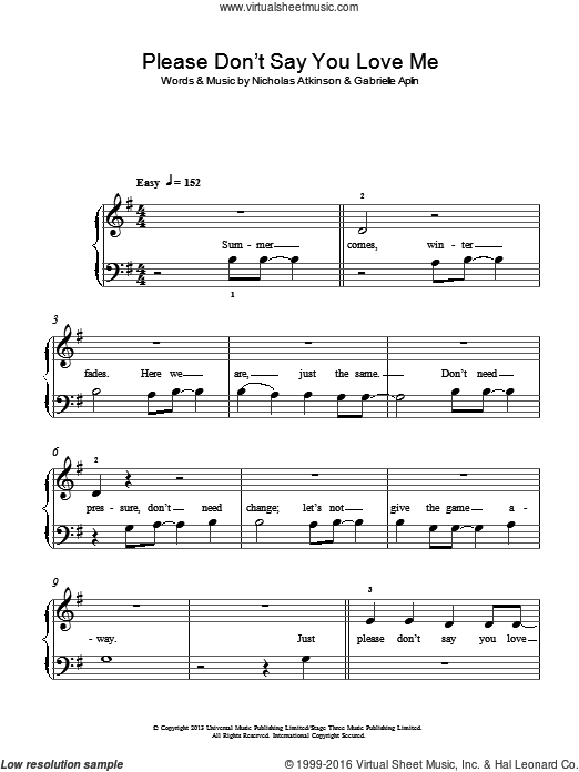Please Don't Say You Love Me sheet music for piano solo by Nicholas Atkinson and Gabrielle Aplin. Score Image Preview.