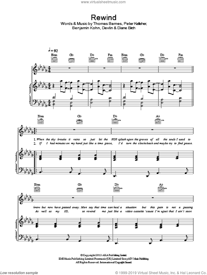 Rewind sheet music for voice, piano or guitar by Thomas Barnes, Benjamin Kohn, Diane Birch and Peter Kelleher. Score Image Preview.