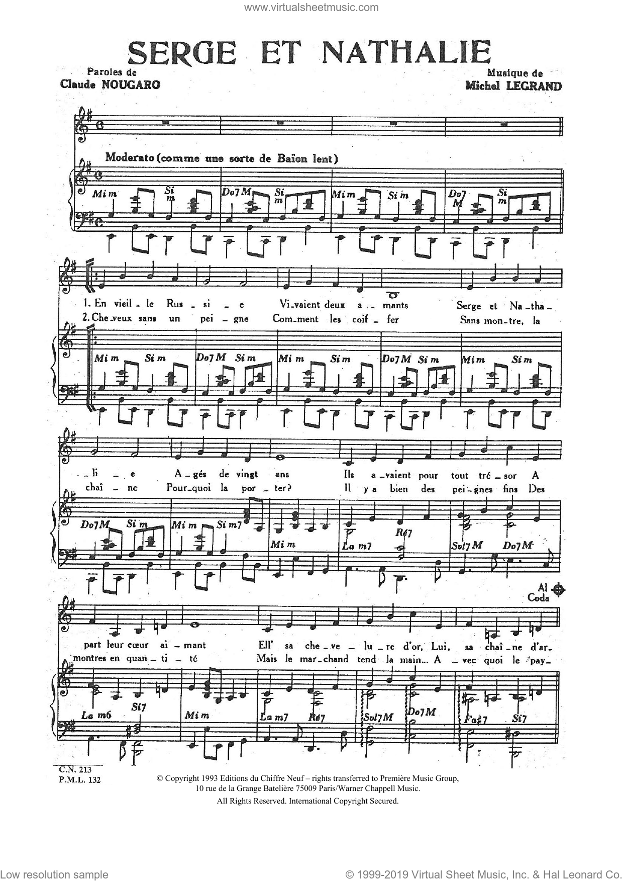 Serge Et Nathalie sheet music for voice and piano by Claude Nougaro and Michel LeGrand, intermediate