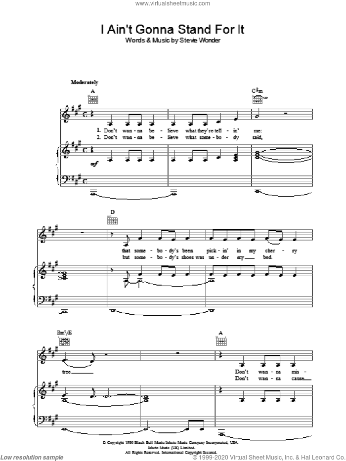 I Ain't Gonna Stand For It sheet music for voice, piano or guitar by Stevie Wonder