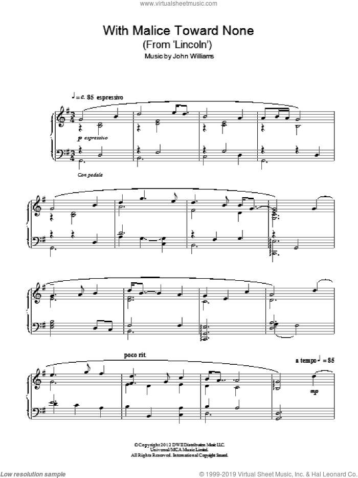 With Malice Toward None (From 'Lincoln') sheet music for piano solo by John Williams, intermediate skill level