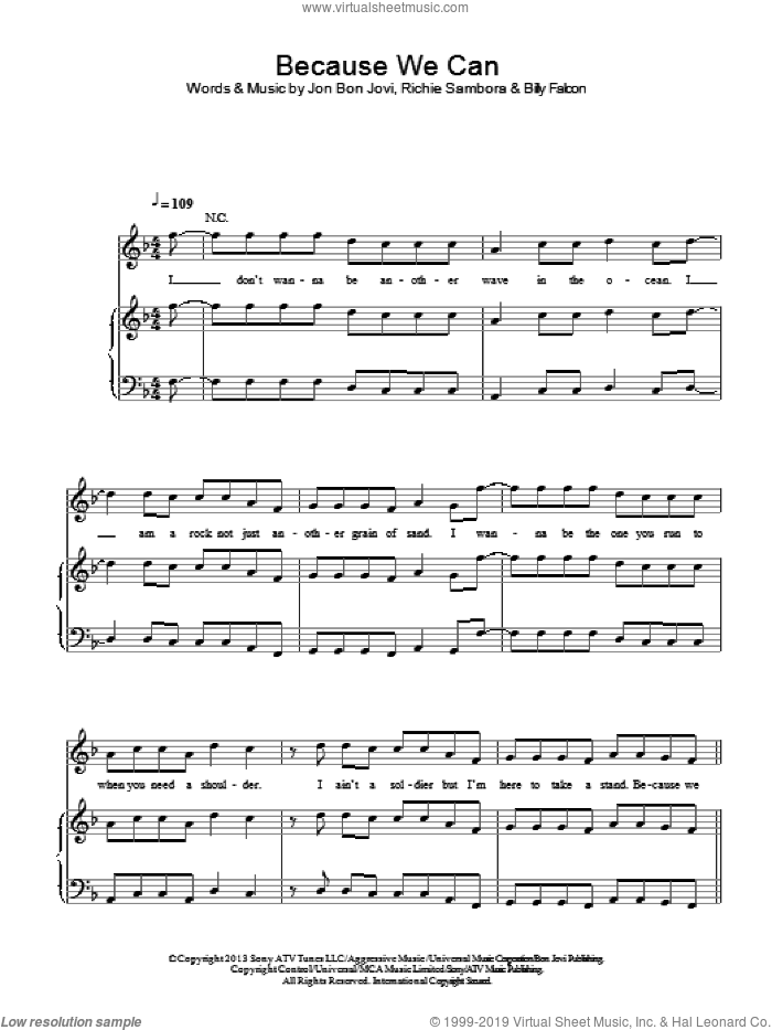 Because We Can sheet music for voice, piano or guitar by Bon Jovi, Billy Falcon and Richie Sambora, intermediate