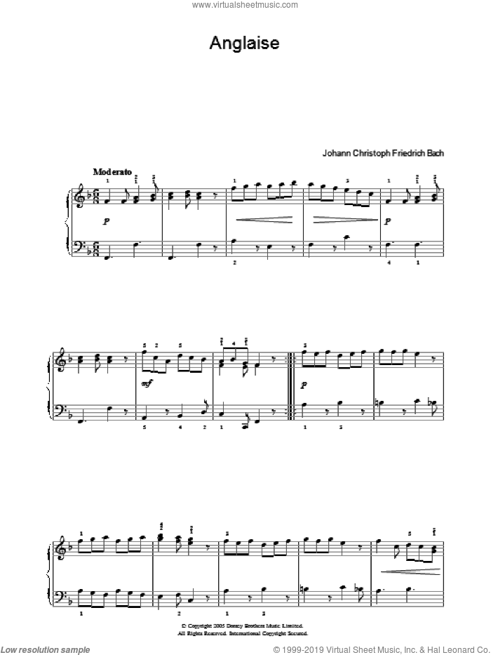 Anglaise sheet music for piano solo by Johann Christoph Friedrich Bach, classical score, intermediate. Score Image Preview.