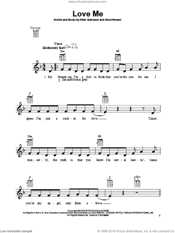 Love Me sheet music for ukulele by Justin Bieber, intermediate. Score Image Preview.
