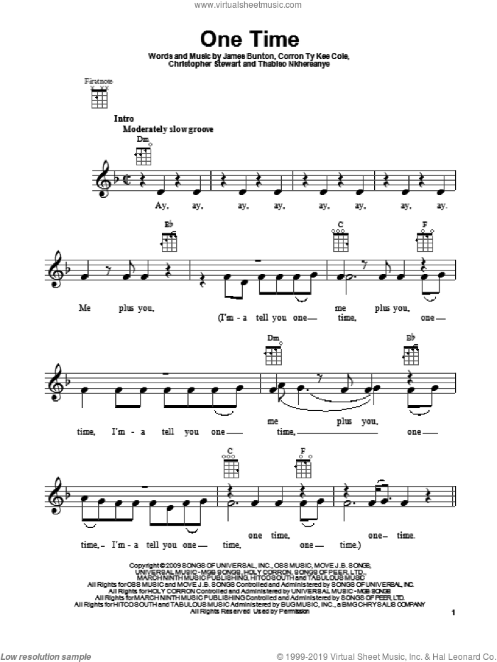 One Time sheet music for ukulele by Justin Bieber, intermediate skill level