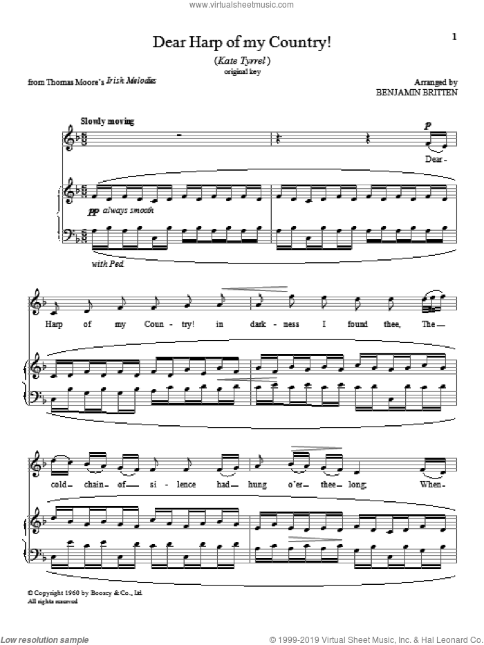 Dear Harp of my Country! sheet music for voice and piano (High Voice) by Benjamin Britten, classical score, intermediate skill level