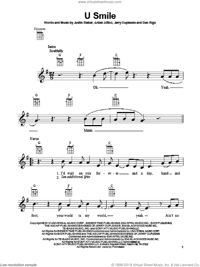 U Smile sheet music for ukulele by Justin Bieber. Score Image Preview.