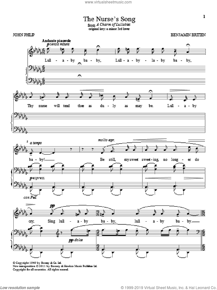 The Nurse's Song sheet music for voice and piano (High Voice) by Benjamin Britten, classical score, intermediate skill level