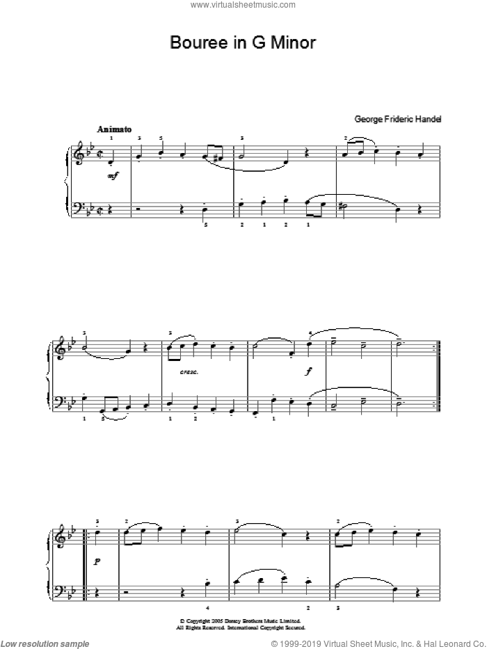 Bouree In G Minor sheet music for piano solo by George Frideric Handel. Score Image Preview.