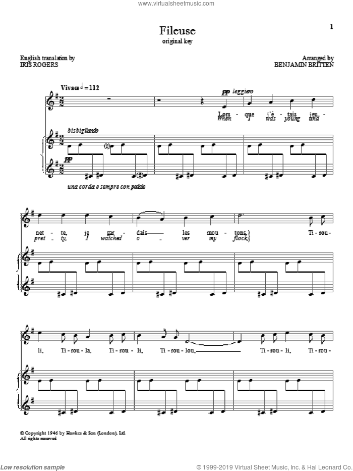 Fileuse sheet music for voice and piano (High Voice) by Benjamin Britten, classical score, intermediate skill level