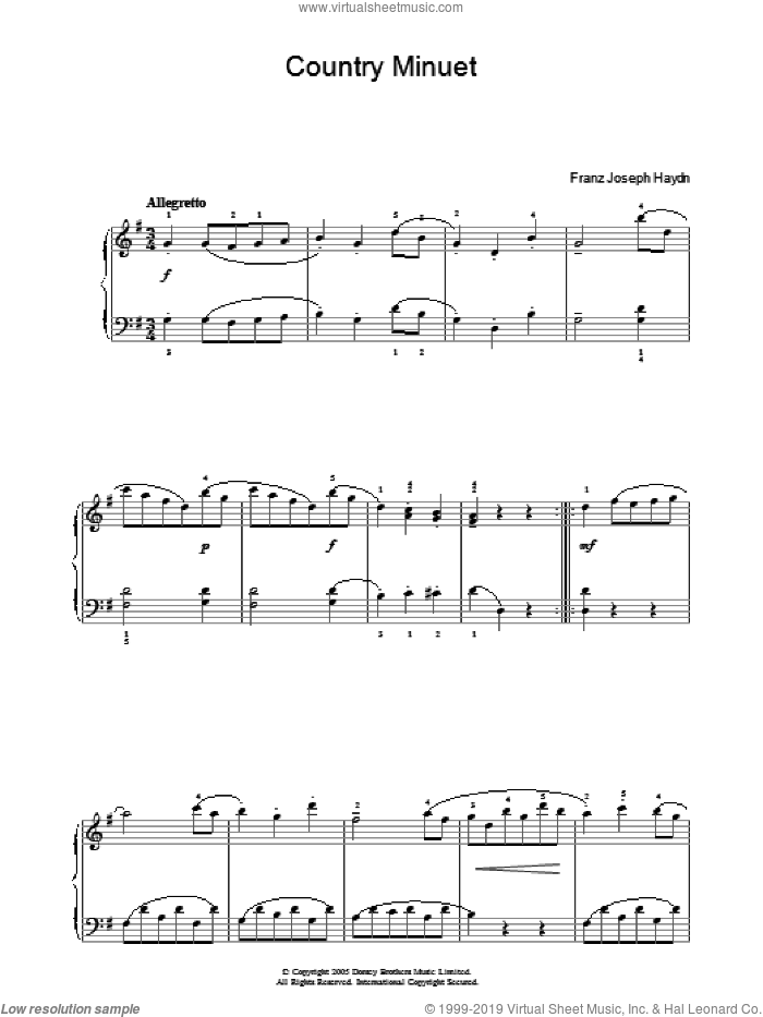 Country Minuet sheet music for piano solo by Franz Joseph Haydn, classical score, intermediate skill level