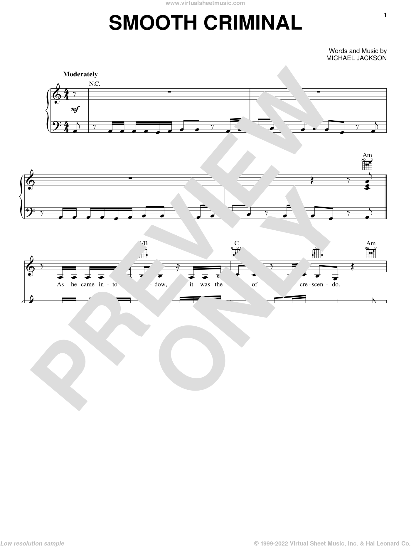 Smooth Criminal sheet music for voice, piano or guitar by Michael Jackson and Alien Ant Farm, intermediate skill level