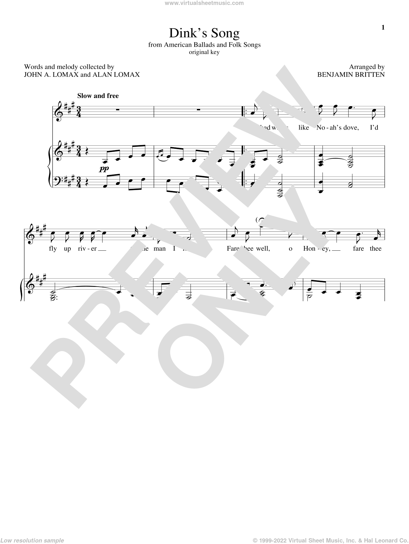 Dink's Song sheet music for voice and piano (High Voice) by Benjamin Britten, classical score, intermediate skill level