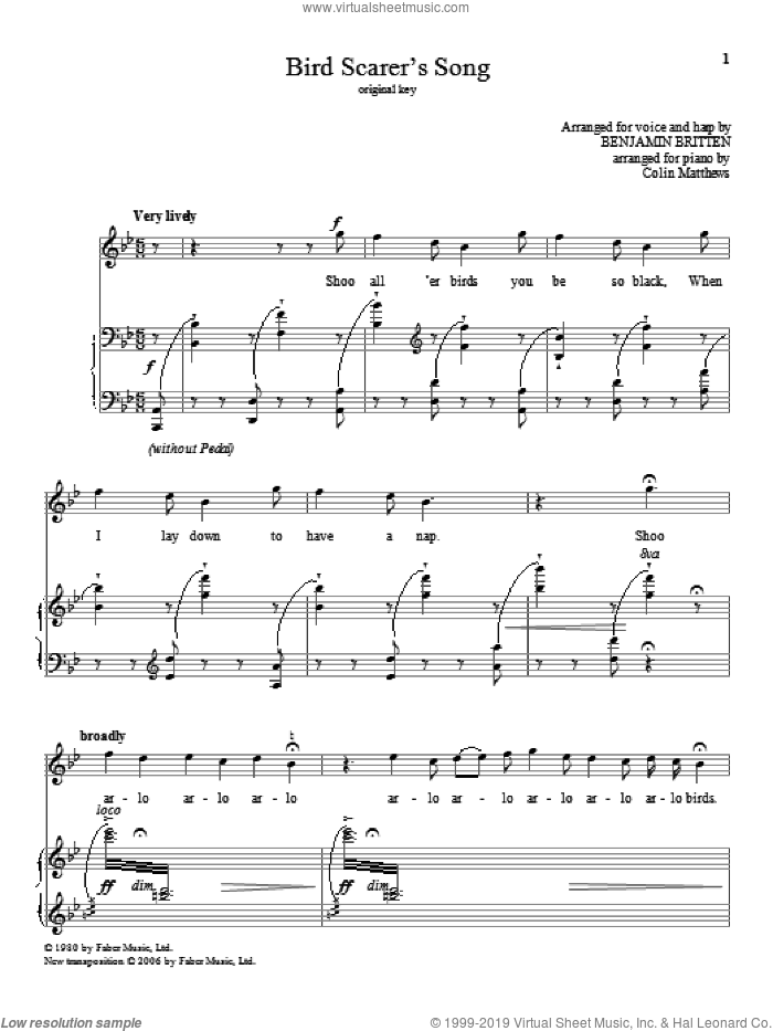 Bird Scarer's Song sheet music for voice and piano (High Voice) by Benjamin Britten, classical score, intermediate skill level