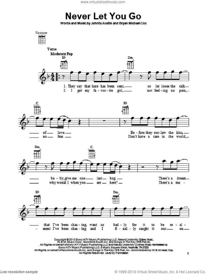 Never Let You Go sheet music for ukulele by Justin Bieber