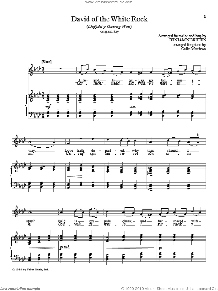 David of the White Rock sheet music for voice and piano (High Voice) by Benjamin Britten, classical score, intermediate skill level