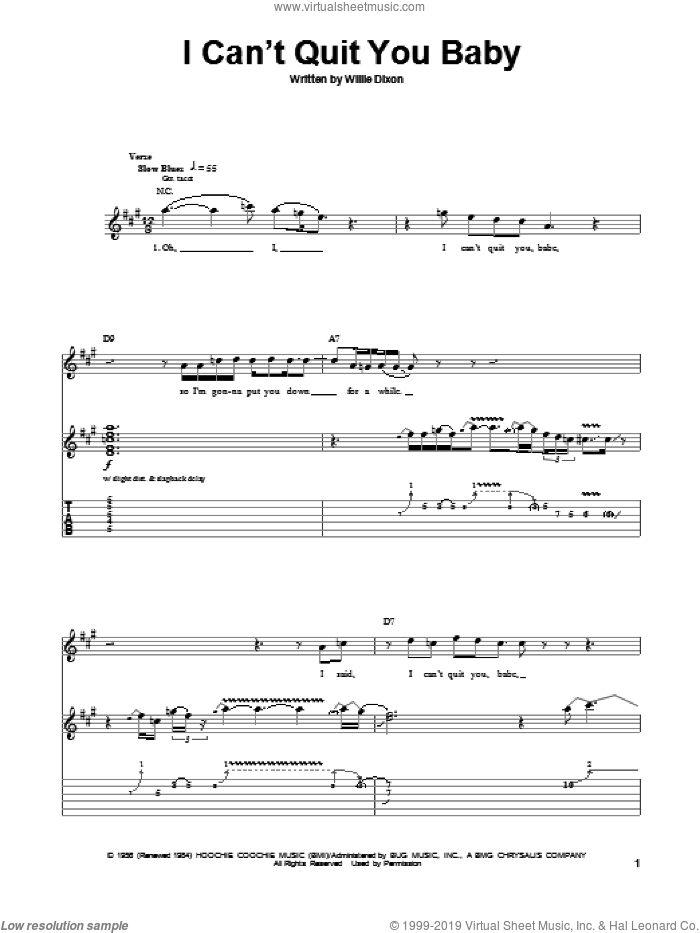 I Can't Quit You Baby sheet music for guitar (tablature, play-along) by Led Zeppelin and Willie Dixon, intermediate skill level