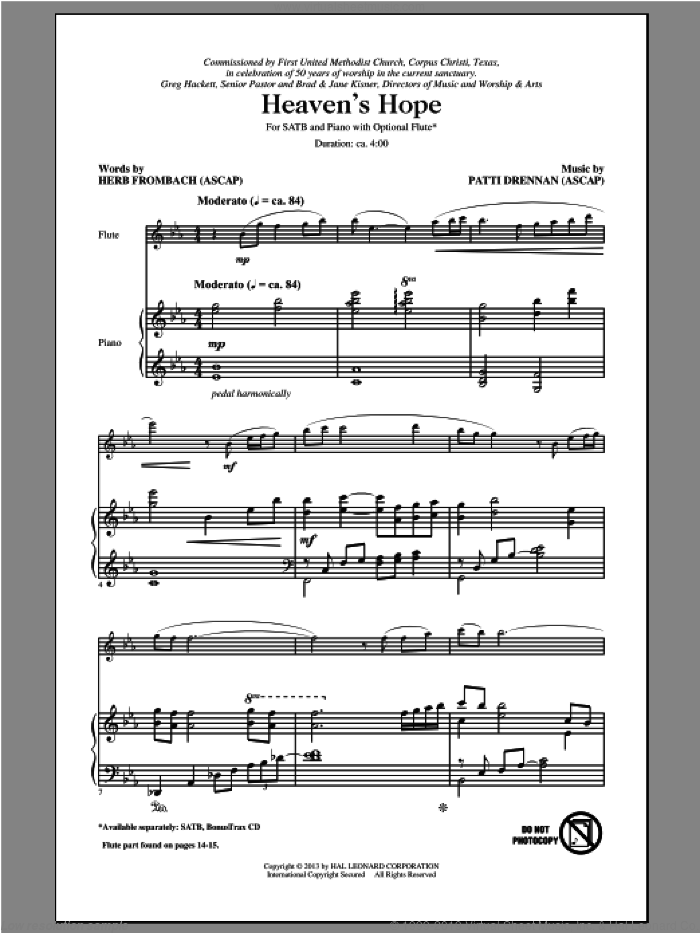 Heaven's Hope sheet music for choir (SATB: soprano, alto, tenor, bass) by Herb Frombach, Patti Drennan and Vicki Tucker Courtney, intermediate skill level