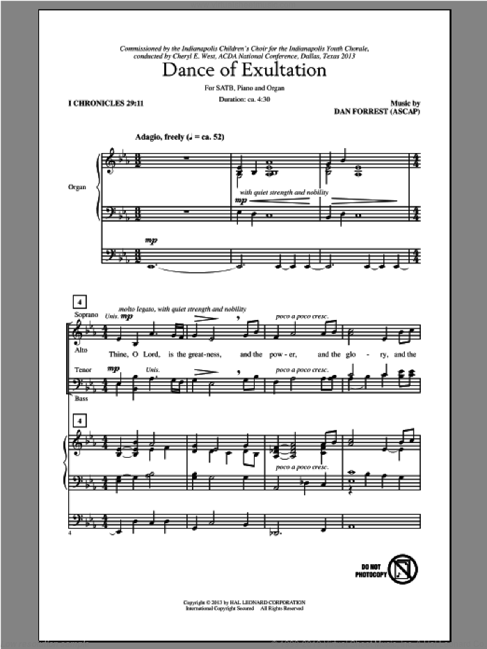 Dance Of Exultation sheet music for choir (SATB: soprano, alto, tenor, bass) by Dan Forrest, intermediate skill level