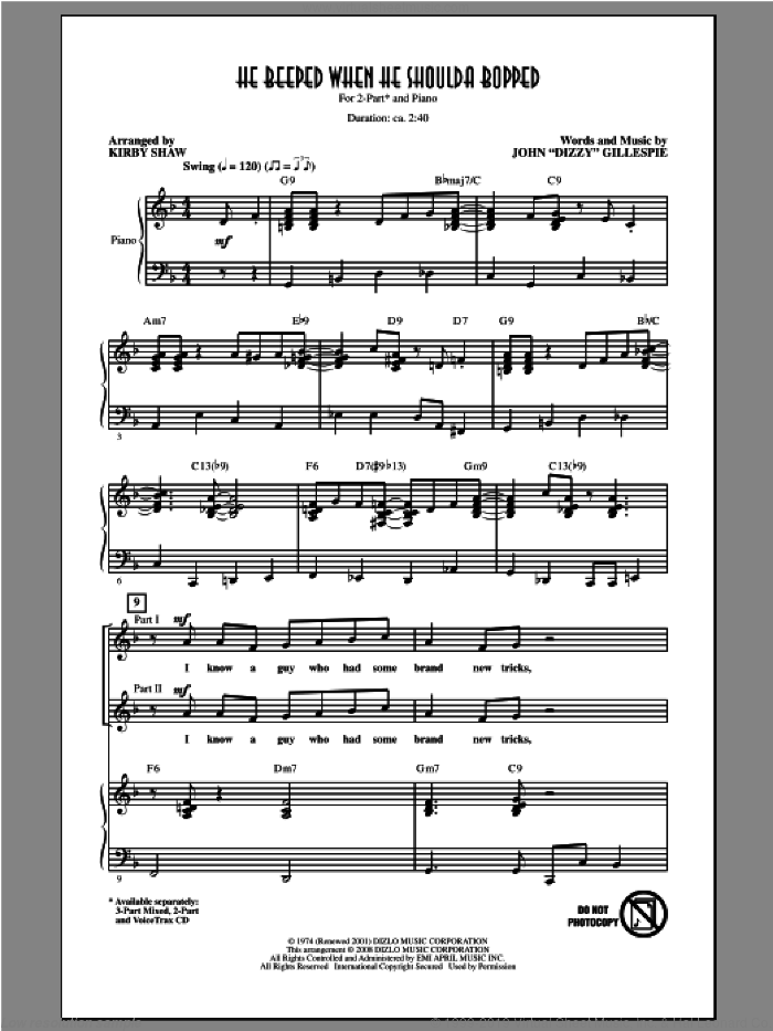 He Beeped When He Shoulda Bopped sheet music for choir (2-Part) by Kirby Shaw and Dizzy Gillespie, intermediate duet