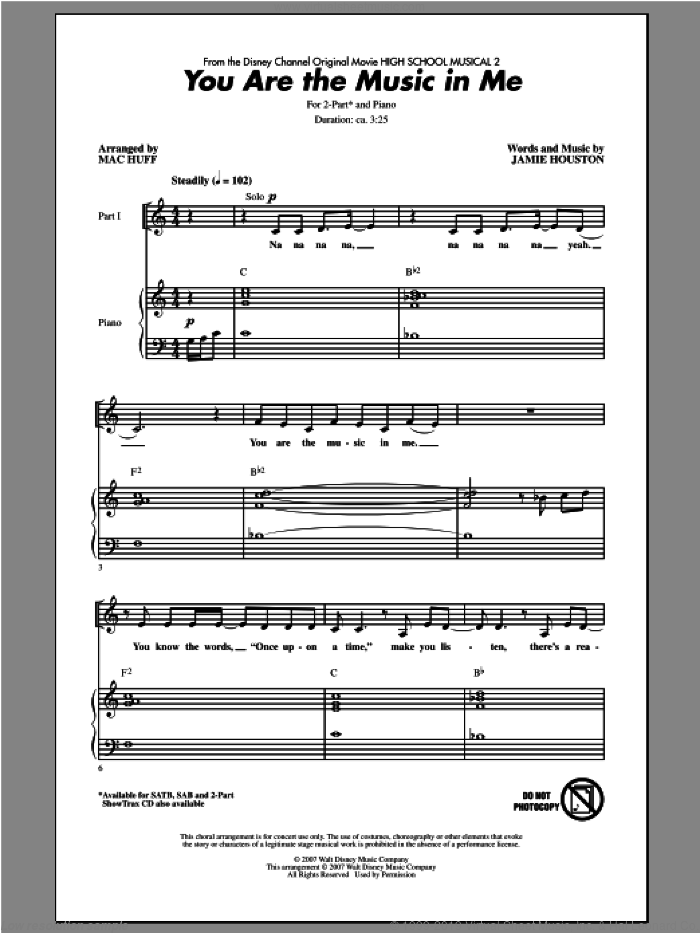 You Are The Music In Me sheet music for choir (duets) by Mac Huff. Score Image Preview.