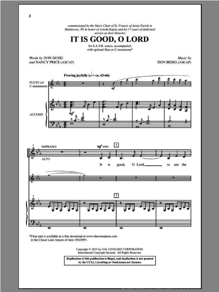 It Is Good, O Lord sheet music for choir (SATB) by Don Besig and Nancy Price, intermediate choir (SATB). Score Image Preview.