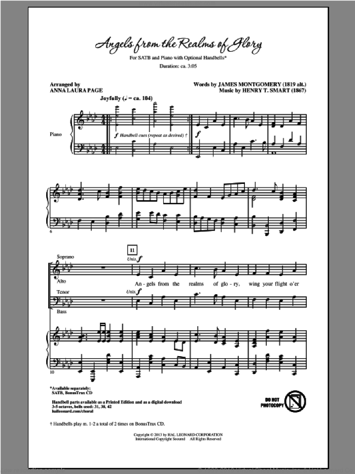 Angels From The Realms Of Glory sheet music for choir and piano (SATB) by Anna Laura Page